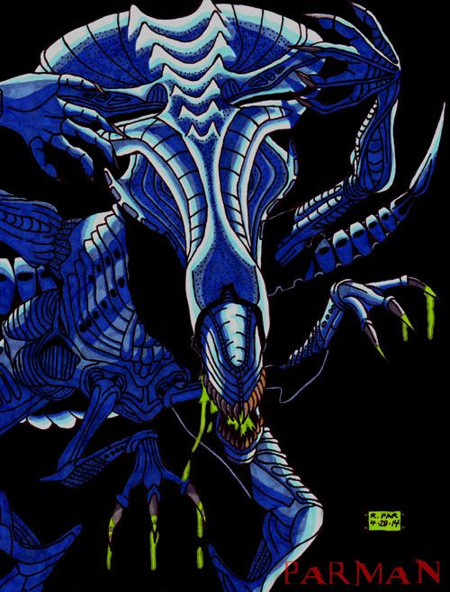 My drawing of the Xenomorph Queen from ALIENS.