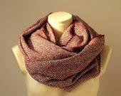 Super Warm Infinity Scarf Wool Burgundy & Ivory - Herringbone Winter Fashion-Neck warmer- Cowl - atohumcu
