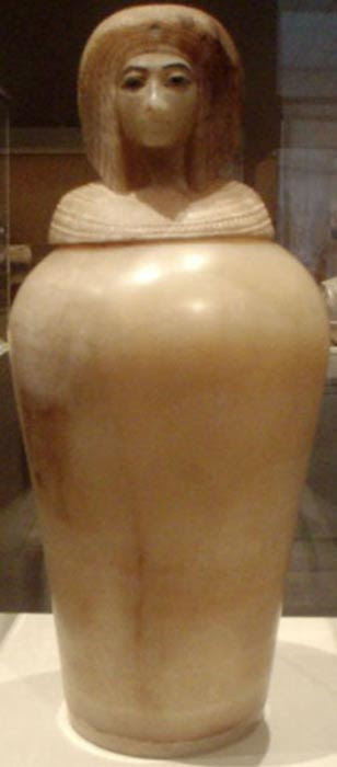 One of the four Egyptian alabaster canopic jars found in KV55, depicting what is thought to be the likeness of Queen Kiya