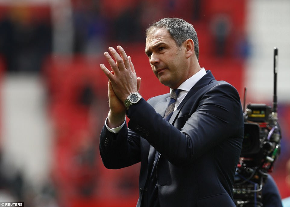 Clement acknowledges the travelling fans from South Wales after a well-earned point in the north west of England
