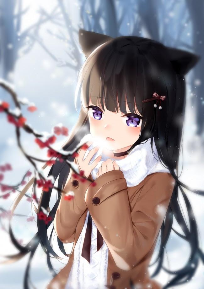 Cute Anime Girl Black Hair Brown Eyes Hairstyle Girls