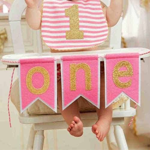 1st Birthday Highchair Banner Pink