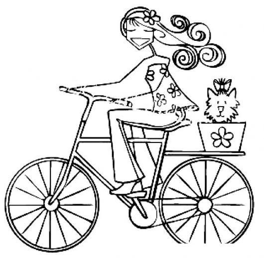 Dibujo De Chica En Bicicleta Con Una Gatita Para Pintar Y Colorear