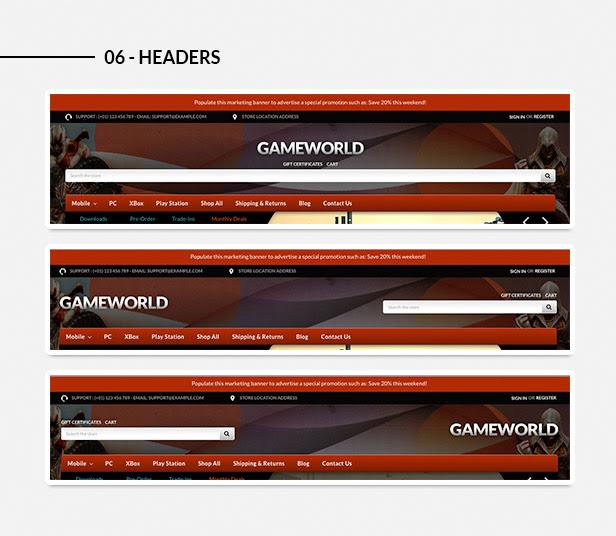 Various headers styles