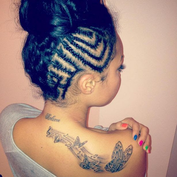 Grey Ink Music Notes And Butterfly Tattoo On Back