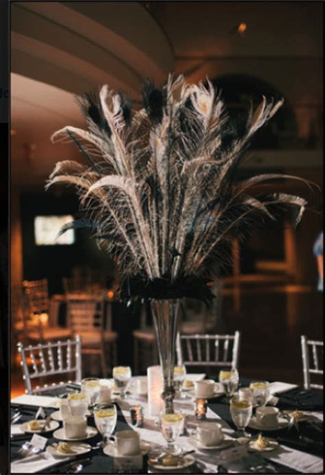 F/S: Peacock Feather Centerpieces (11)   Black, White