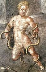Hercules strangling the snakes — fresco from the exedra of the House of the Vettii in Pompeii