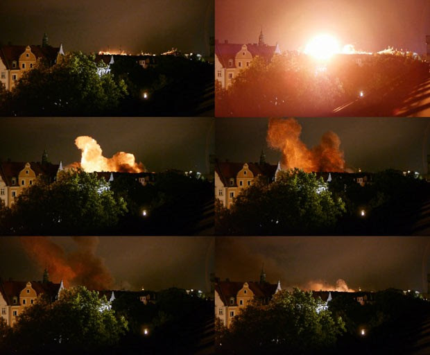 Sequência de imagens mostra a detonação controlada da bomba nesta terça-feira (28) em Munique (Foto: AFP)