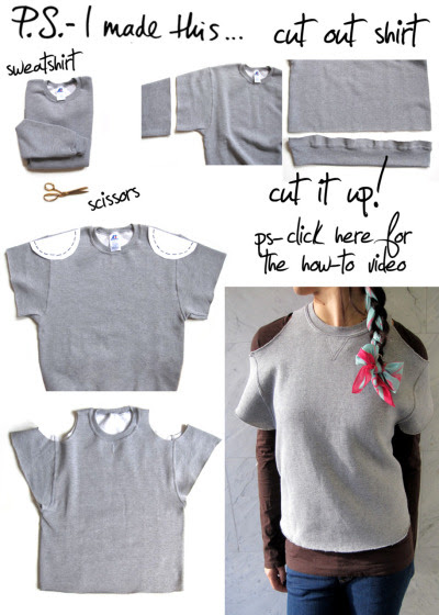 Cut - it - out… Literally!  There's no time like the present to give yourself a present!  Being crafty and creating fun fashions can take seconds.  Case in point: The cut out sweatshirt! REIMAGINE, REUSE, &  REINVENT this very instant.  Take two things you probably already have at home: a sweatshirt and your trusty scissors and get inspired by the casual cool Alexander Wang and the athletic inspired looks were seeing all around.  Going the distance is easy when you sport the sporty look like a DIY Champ! P.S.- My good friends at Fashionista.com and I both agree that GREY is the new BLACK!  We teamed up for a fun video DIY.  Click HERE to watch the how-to- and say P.S.- I made this…!