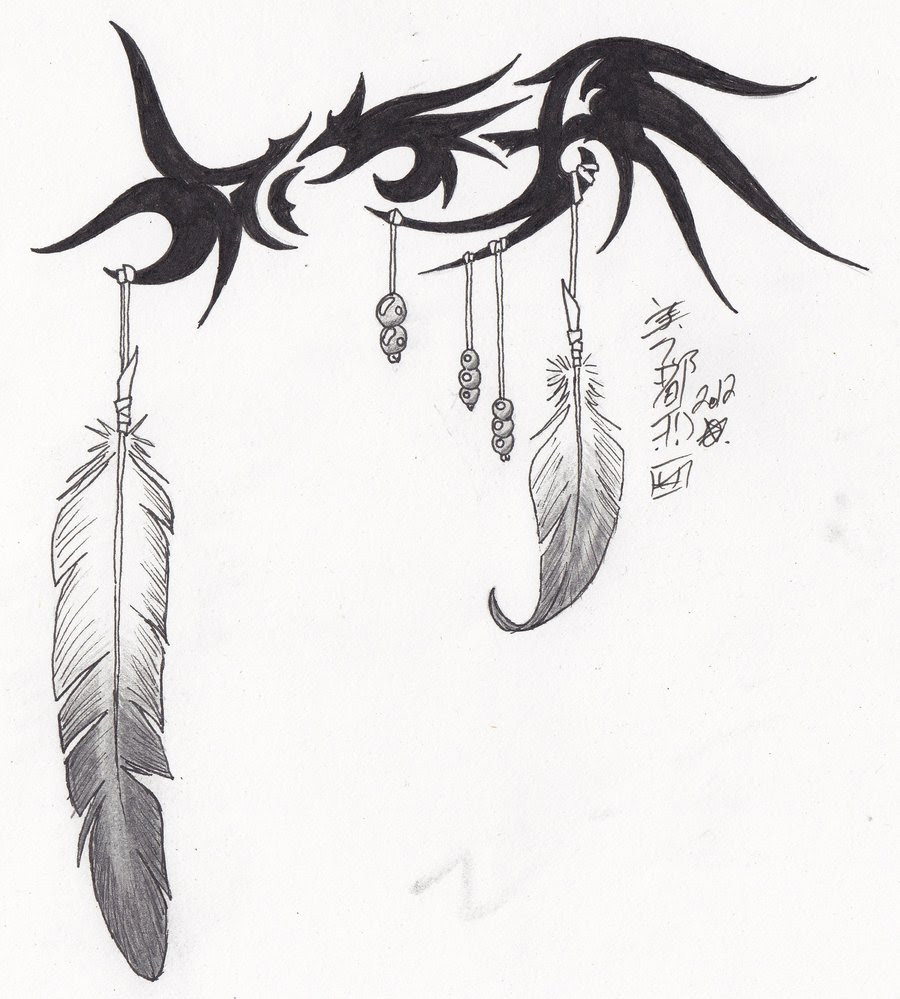 Tribal Eagle Feather Tattoo Design By Syrazel Deviantart Tattoomagz