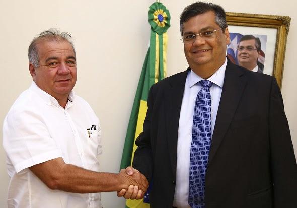 Governador Flávio Dino e prefeito de Alto Alegre do Pindaré, Fufuca Dantas, em reunião no Palácio dos Leões