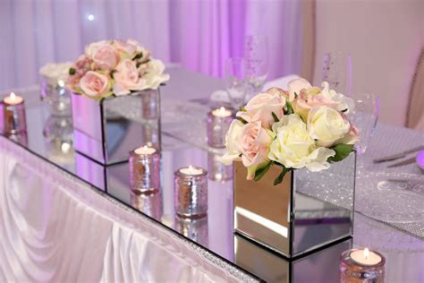 Square Mirrored Vase   Beyond Expectations Weddings & Events