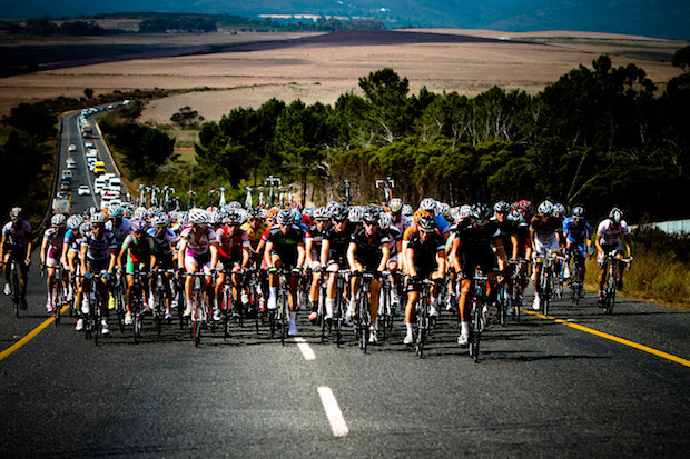 The peloton and caravan move out of Hermanus towards Stellenbosch during stage 6 of the Cell C Tour of South Africa