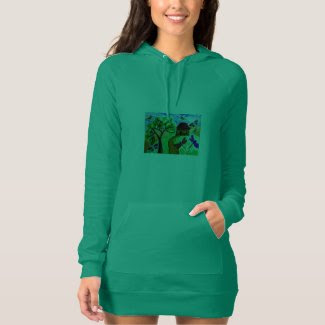 Fanciful Folk Art on Women's Hoodie Dress