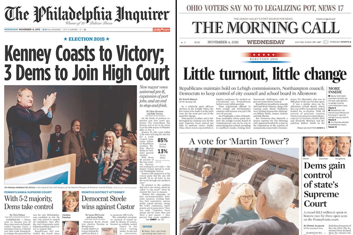 Post-election newspaper front pages