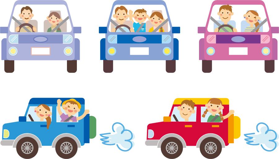 フリーイラスト 5種類の車でドライブするカップルと家族のセットでアハ