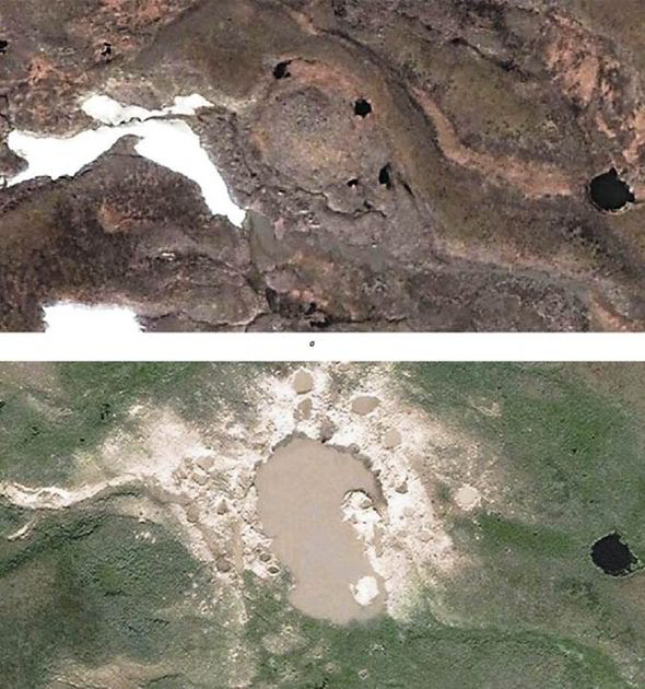 Satellite images of the giant craters