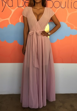 Chicago burnt pink Back Slit Leaf Print Cutout Sheath Dress art venus