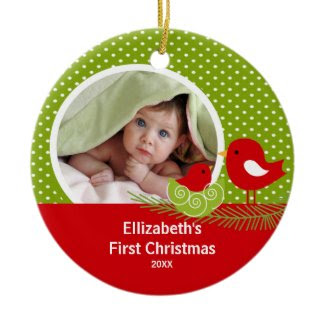 Babys First Christmas Photo Ornament Baby Bird ornament