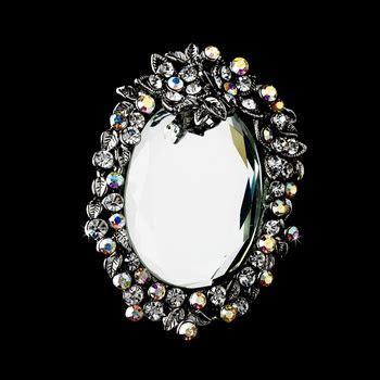 * Antique Silver Clear Aurora Borealis Rhinestone Mirror