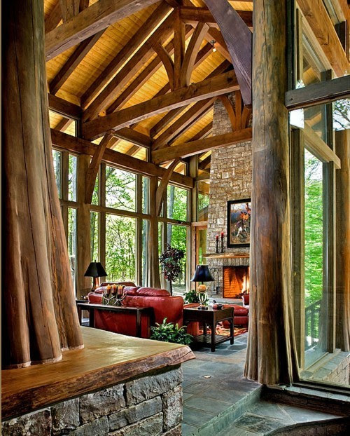 "chelseatee:  georgianadesign:  ""Tree House"" family room near Nashville, TN 