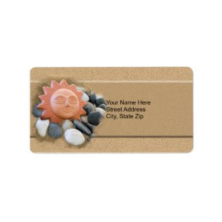 Terra Cotta, Sun On Sand, polished Rocks, address label