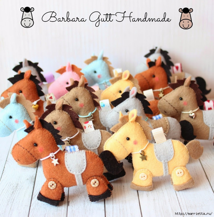 Of felt.  Horses by Barbara (9) (689x700, 347Kb)