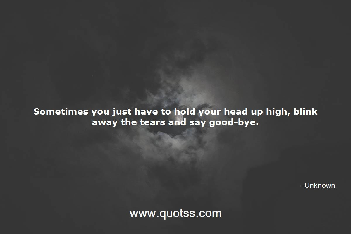Sometimes You Just Have To Hold Your Head Up High Blink Away The