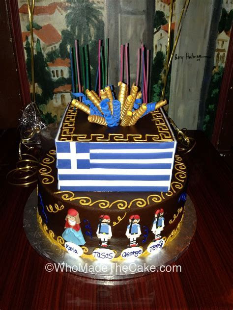 Greek flag birthday cake for Radio Roula by www