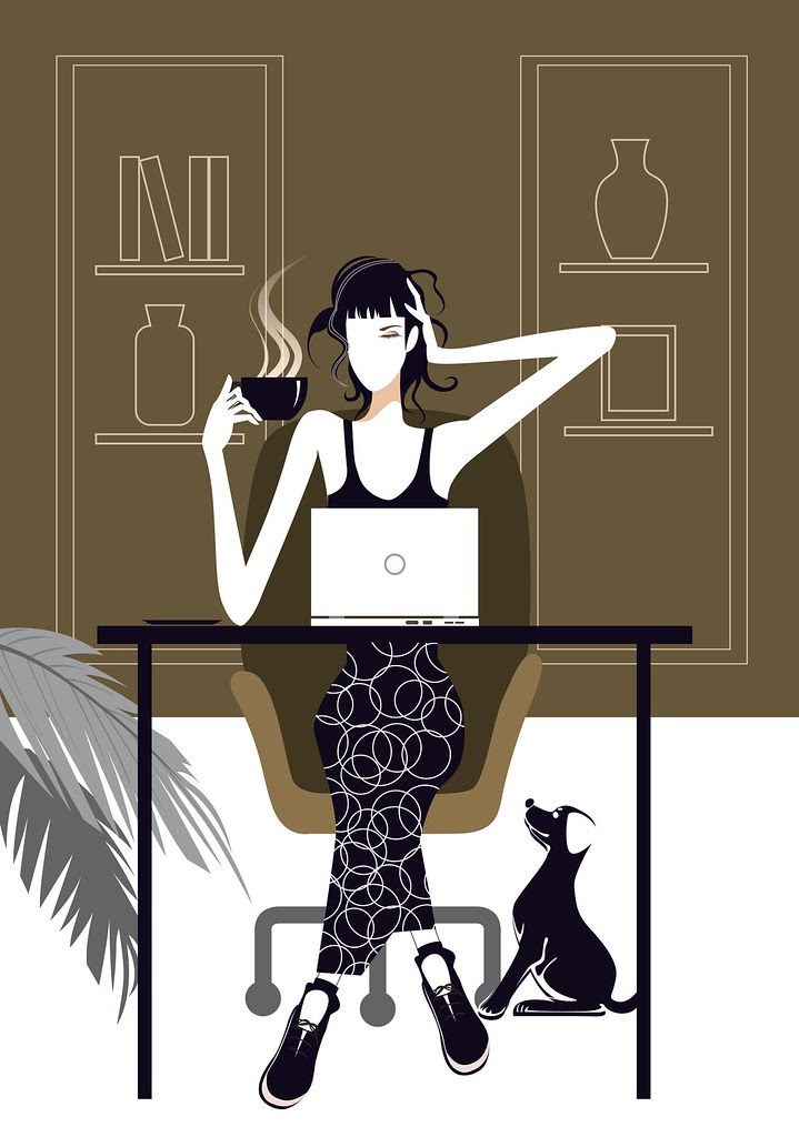 Lady working on laptop with tea cup illustration via Veer Stock Images