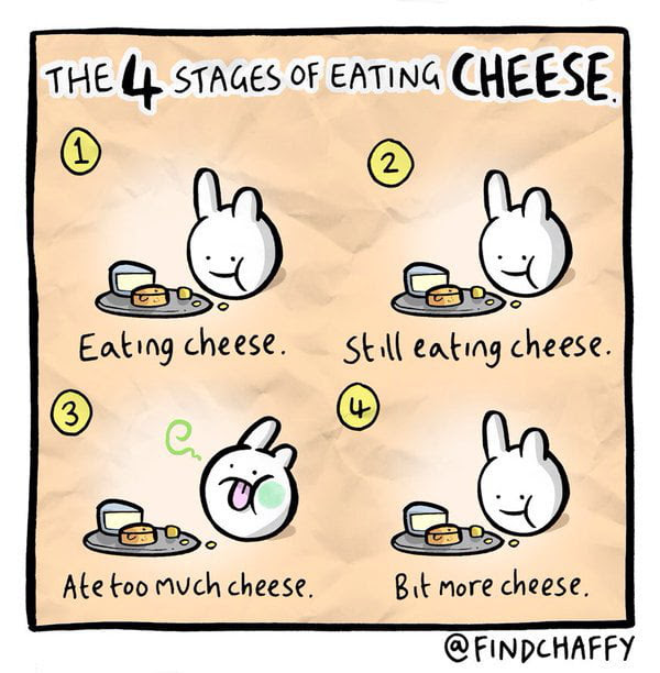 The 4 stages of eating cheese
