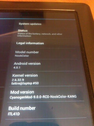 Nook Color get ICS ported