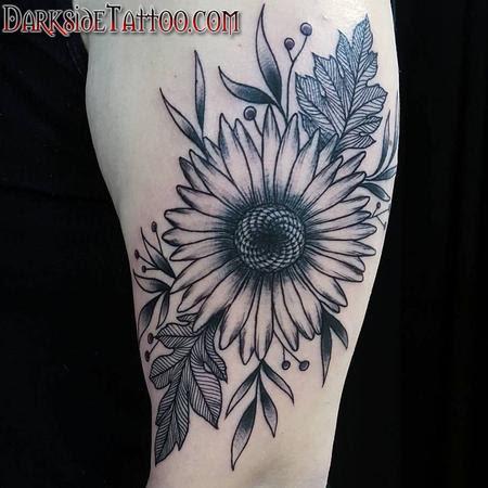 Black And Gray Sunflower Tattoo By Marissa Falanga Tattoos