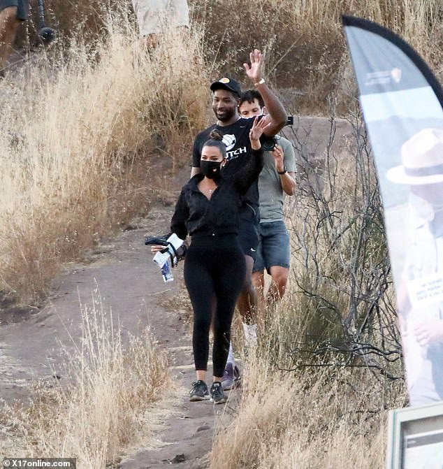 """Khloe Kardashian and Tristan Thompson spotted looking """"very happy"""" as they enjoy a hike together in Malibu hills (photos)"""