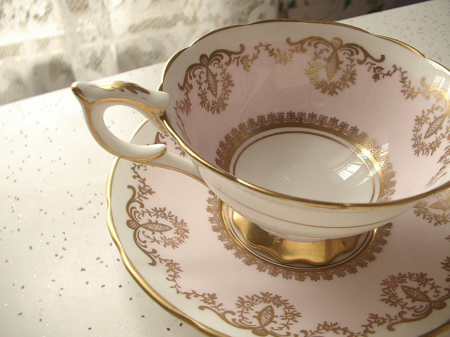 vintage pink and gold tea cup and saucer set, Royal Stafford English bone china tea set, art nouveau - ShoponSherman