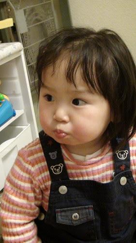 Miyu eating strawberries