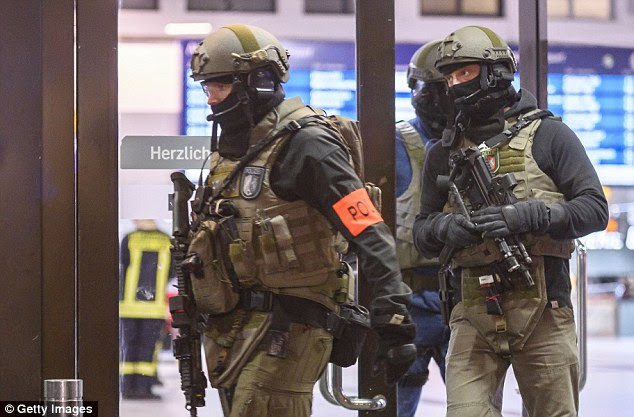 An arrest was made after squads of anti-terror police swooped in on the scene in Dusseldorf