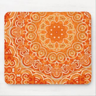 Orange Batik Watercolor Mandala mousepad