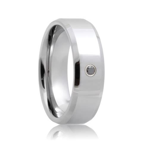 Heracles Black Diamond Solitaire Beveled Cobalt Chrome Band