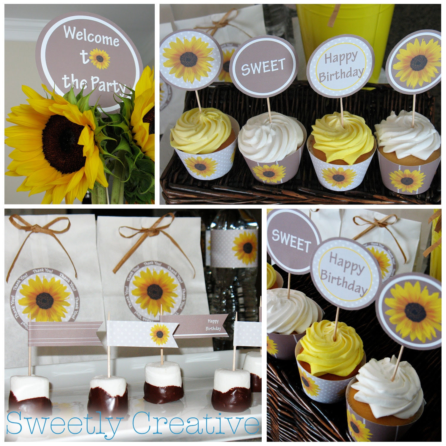 Printable Sunflower Party Collection INSTANT by SweetlyCreative