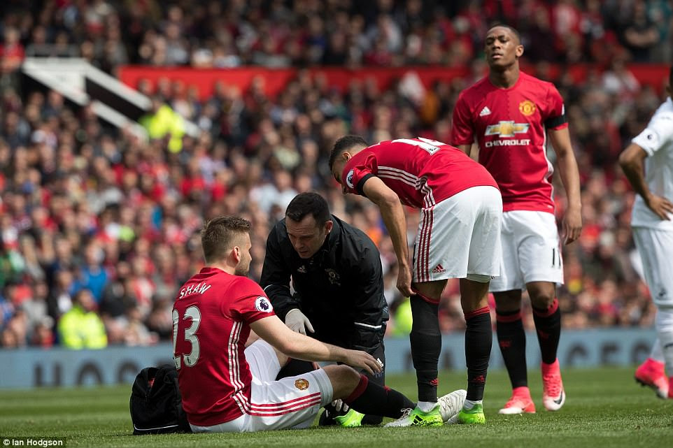 United defender Luke Shaw went down off the ball after only nine minutes and had to receive medical treatment on the pitch