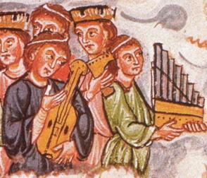 """Músicos medievales. Imagen de """"La música Sacra"""""""
