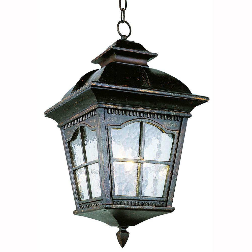 Bel Air Lighting Bostonian 3Light Outdoor Antique Rust Hanging Lantern with Water Glass5421 AR