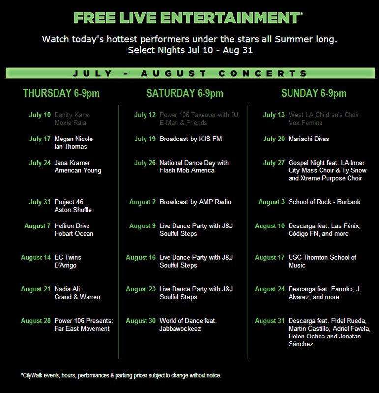 Summer Concert Series At Universal Citywalk Hollywood