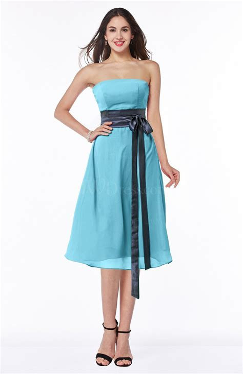 Light Blue Romantic A line Strapless Sleeveless Tea Length