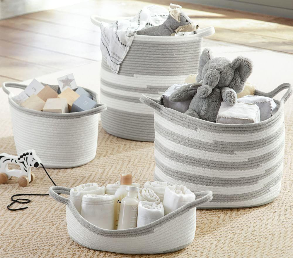 Grey Cotton Rope Storage
