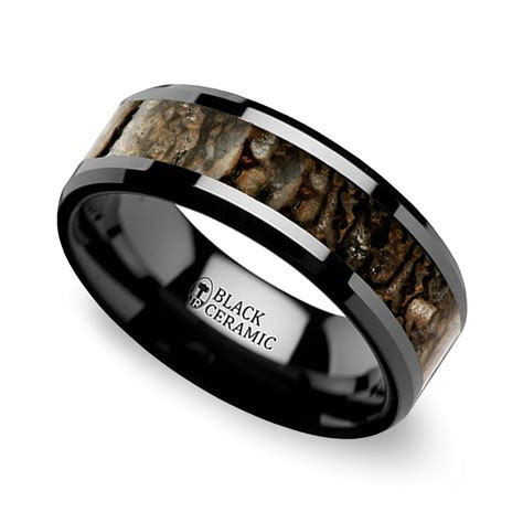Beveled Dinosaur Bone Inlay Men's Wedding Ring in Black