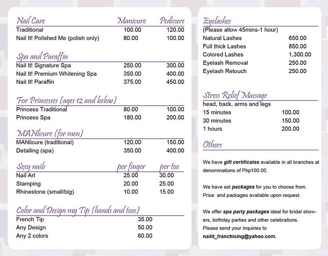 Nail It Pricelist