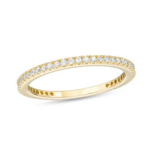 Cubic Zirconia Eternity Wedding Band in 10K Gold   Size 6