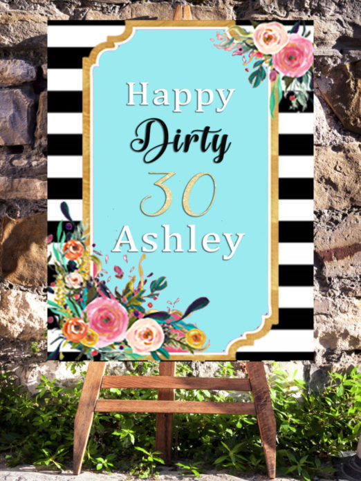 30th Birthday Party Printable Welcome Sign For Women Turning 30 Vcdiy